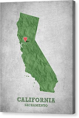I Love Sacramento California - Green Canvas Print by Aged Pixel