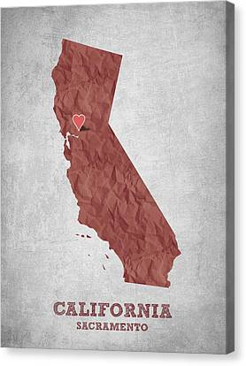 I Love Sacramento California - Red Canvas Print by Aged Pixel