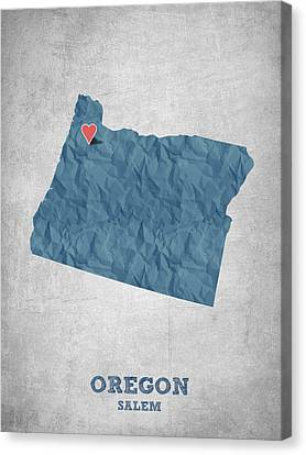 I Love Salem Oregon- Blue Canvas Print by Aged Pixel