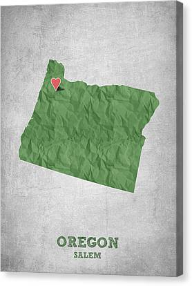 I Love Salem Oregon- Green Canvas Print by Aged Pixel