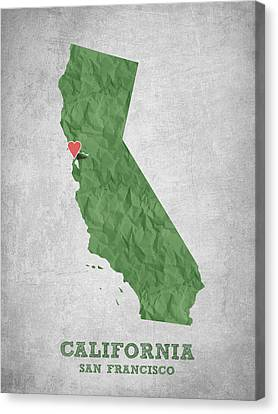I Love San Francisco California - Green Canvas Print by Aged Pixel