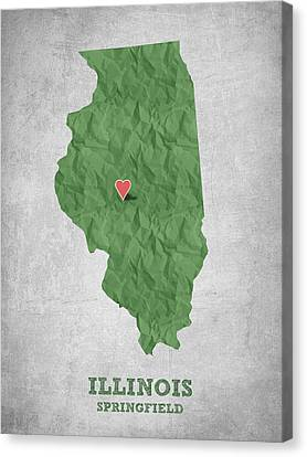 Lincoln Canvas Print - I Love Springfield Illinois - Green by Aged Pixel