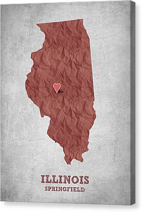 Lincoln Canvas Print - I Love Springfield Illinois - Red by Aged Pixel