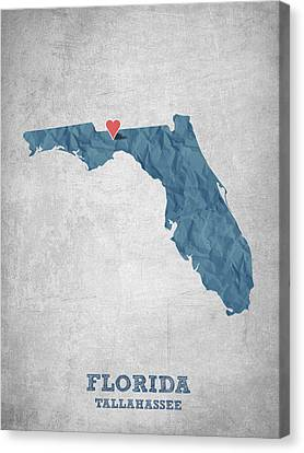 I Love Tallahassee Florida - Blue Canvas Print by Aged Pixel