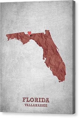 I Love Tallahassee Florida - Red Canvas Print by Aged Pixel