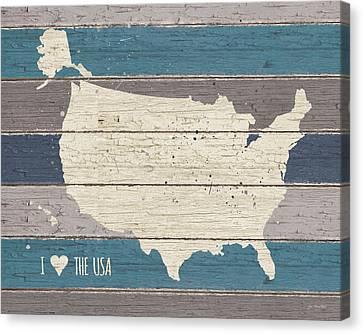 I Love The Usa Map Canvas Print