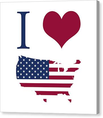I Love Usa Canvas Print by Gina Dsgn