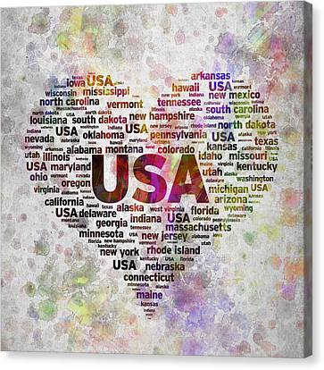 Patriotism Canvas Print - I Love Usa In Color by Aged Pixel