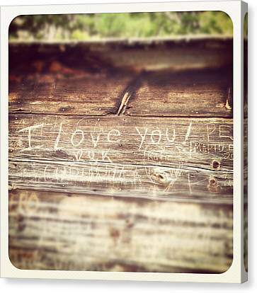 I Love You Carved In Wood Canvas Print by Brooke T Ryan