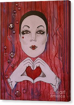 Canvas Print featuring the painting I Love You by Jane Chesnut