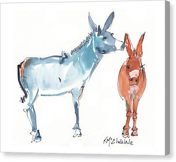 I Love You Donkey Art Watercolor Painting By Kmcelwaine Canvas Print