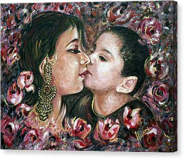 Canvas Print featuring the painting I Love You Mom by Harsh Malik