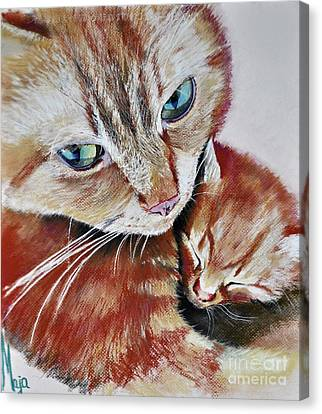 Canvas Print featuring the drawing I Love You Mommy by Maja Sokolowska