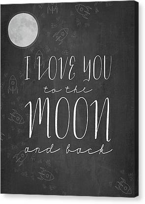 I Love You To The Moon Chalkboard Canvas Print by Amy Cummings