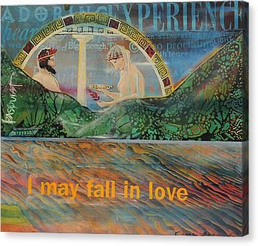 Beach Mountain Green Butterflies Basquiat Delphi Oracle Sky I May Fall In Love  Canvas Print by Cynthia Van Leeuwen
