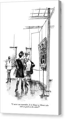 I Never Can Remember. Is It Manet Or Monet Who Canvas Print by Charles Saxon