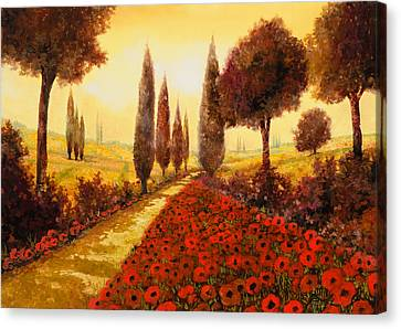 I Papaveri In Estate Canvas Print by Guido Borelli