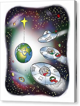 I Saw Three Saucers Canvas Print by Mark Armstrong