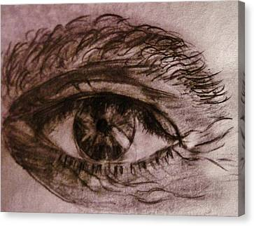 Canvas Print featuring the drawing I See You... by Cristina Mihailescu