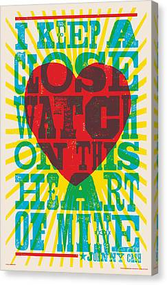 Heart Canvas Print - I Walk The Line - Johnny Cash Lyric Poster by Jim Zahniser