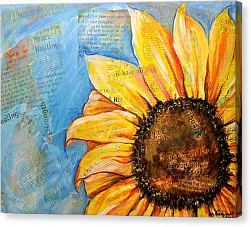 I Will Have No Fear Sunflower Canvas Print by Lisa Fiedler Jaworski
