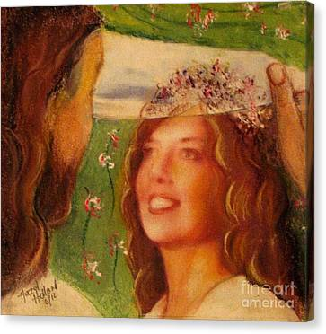 Canvas Print featuring the painting I Will Lift The Veil by Hazel Holland