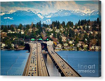 I90 Bridge Canvas Print by Inge Johnsson