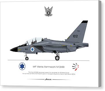 Canvas Print featuring the drawing Iaf Aermacchi M346i by Amos Dor