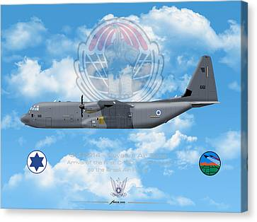 Canvas Print featuring the drawing Iaf C-130j Shimshon by Amos Dor