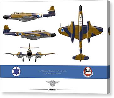 Canvas Print featuring the drawing Iaf Gloster Meteor Nf 13 Nr 50 by Amos Dor