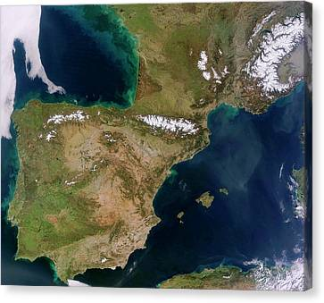 Iberian Peninsula Canvas Print by Jeff Schmaltz, Lance/eosdis Modis Rapid Response Team At Nasa Gsfc