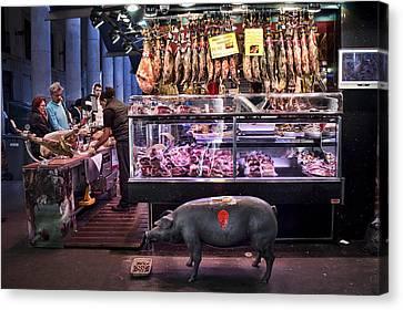 Iberico Ham Shop In La Boqueria Market In Barcelona Canvas Print
