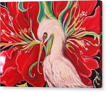 Canvas Print featuring the painting Ibis And Red Flower by Yolanda Rodriguez