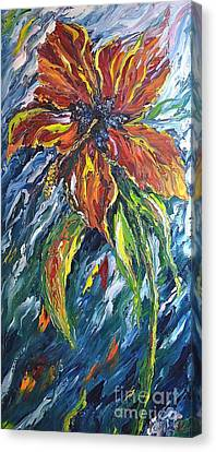 Ibiscus Fire And Ice Canvas Print by Kathleen Pio