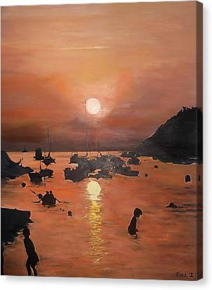 Canvas Print featuring the painting Ibiza Sunset by Cherise Foster