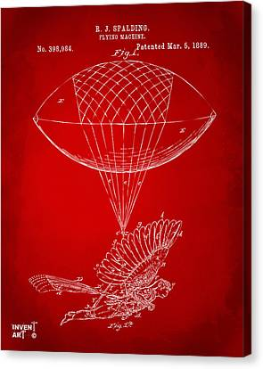 Icarus Airborn Patent Artwork Red Canvas Print by Nikki Marie Smith