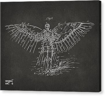 Icarus Flying Machine Patent Artwork Gray Canvas Print by Nikki Marie Smith