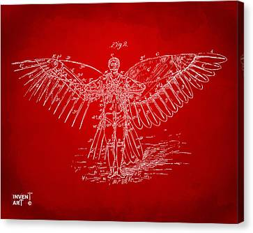 Icarus Flying Machine Patent Artwork Red Canvas Print