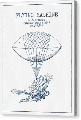 Icarus Flying Machine Patent From 1889- Blue Ink Canvas Print