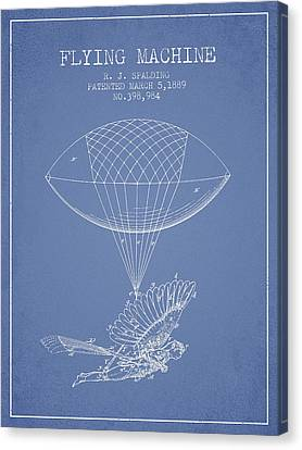 Icarus Flying Machine Patent From 1889 - Light Blue Canvas Print