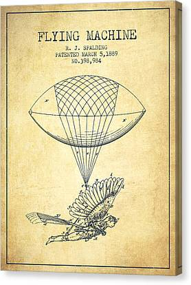 Icarus Flying Machine Patent From 1889 - Vintage Canvas Print