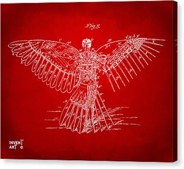 Icarus Human Flight Patent Artwork Red Canvas Print by Nikki Marie Smith