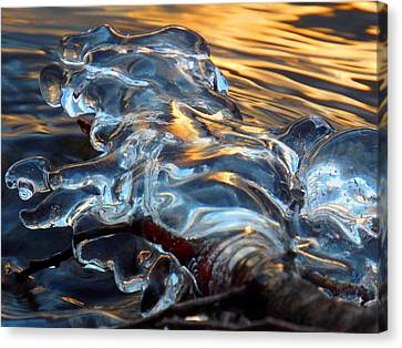 Ice At Sunset Canvas Print by Dianne Cowen