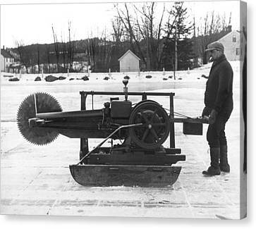 Ice Block Cutting Machine Canvas Print by Underwood Archives