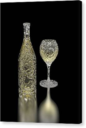 Ice Bottle And Glass Canvas Print by Hakon Soreide