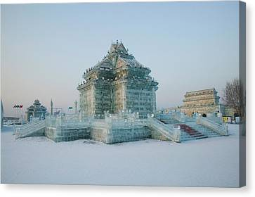 Ice Building At The Harbin Canvas Print by Panoramic Images