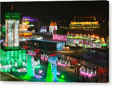 Ice Buildings At The Harbin Canvas Print by Panoramic Images
