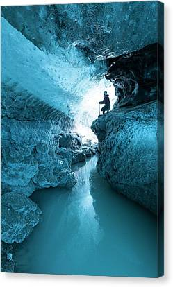 Ice Cave And Subglacial Pond Canvas Print by Dr Juerg Alean