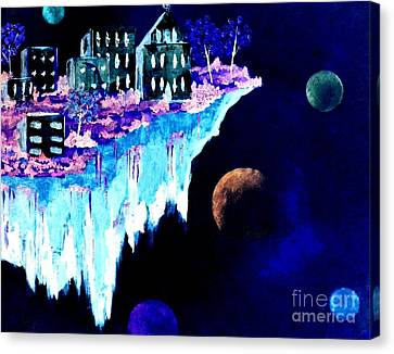 Ice City In Space Canvas Print by Denise Tomasura
