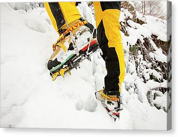 Ice Climbers On An Icefall Canvas Print by Ashley Cooper